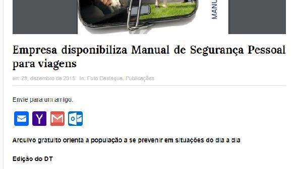 Haganá saiu no Jornal do Turismo   Manual de Segurança Pessoal