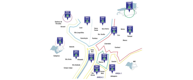 Localização de viaturas e motos das empresas de segurança privada