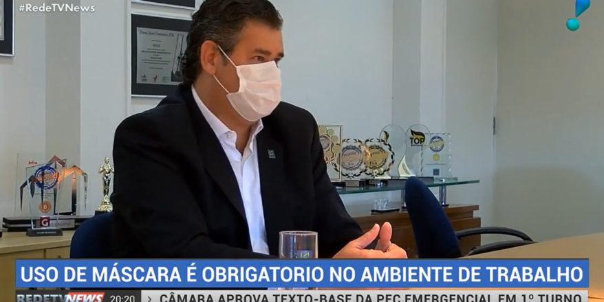 Matéria RedeTV News – Uso de máscara é obrigatório no ambiente de trabalho